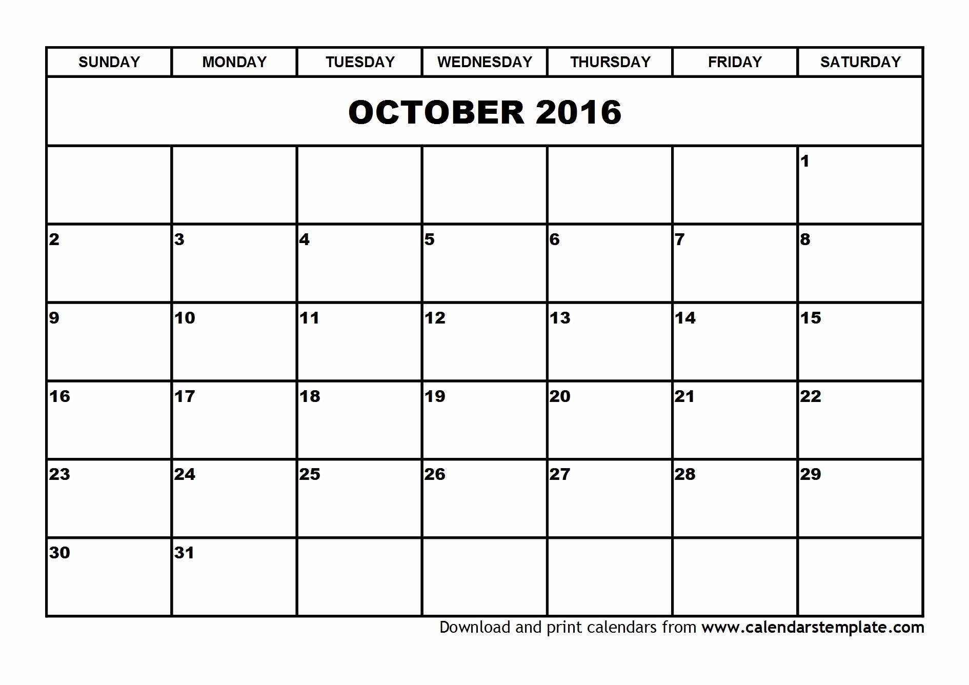 Blank Calendar Template 2016 Unique October 2016 Calendar Template