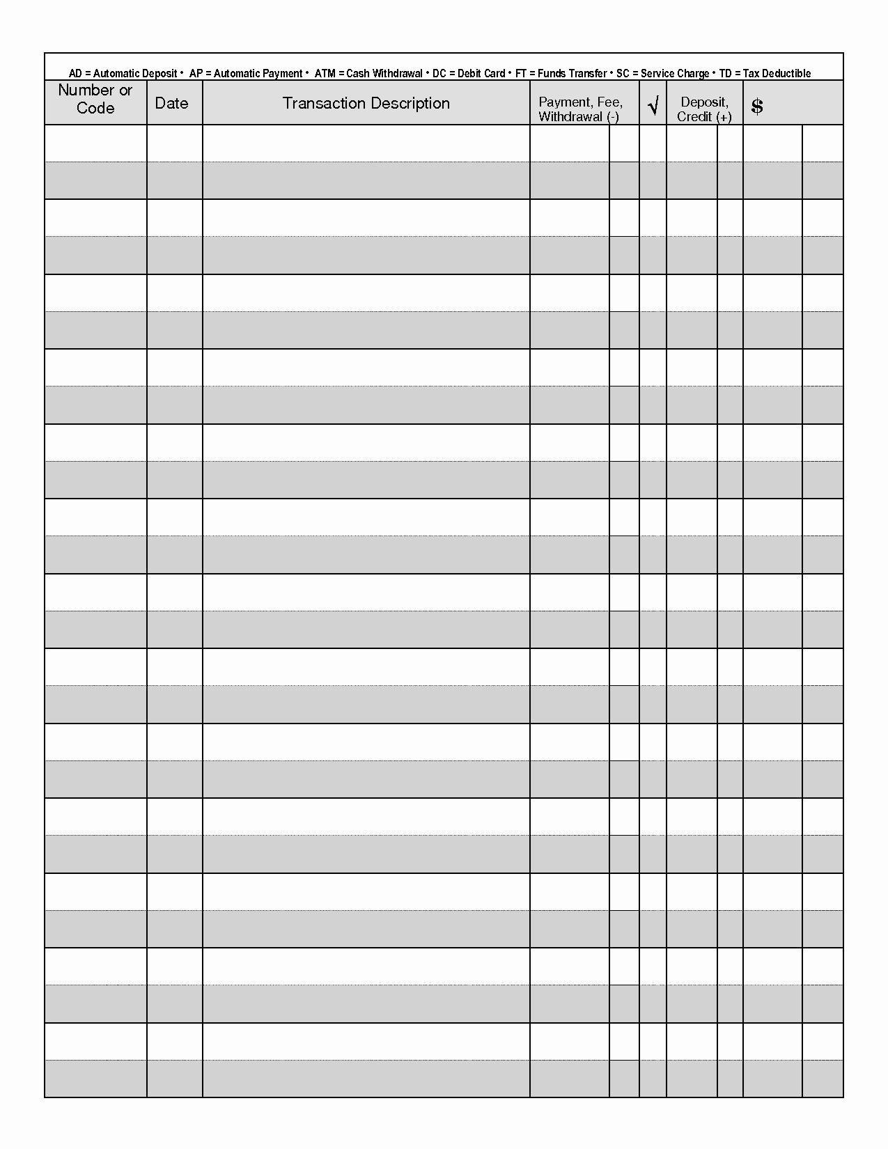 Blank Check Register Template Beautiful 7 Best Of Free Printable Check Registry Free