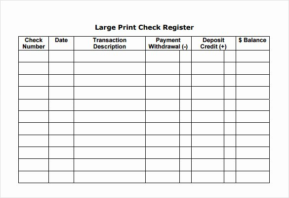 Blank Check Register Template Beautiful 7 Check Register Samples