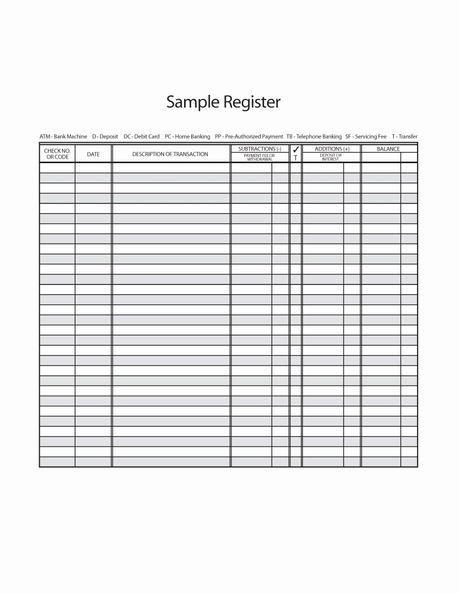 Blank Check Register Template Unique 37 Checkbook Register Templates [ Free Printable]