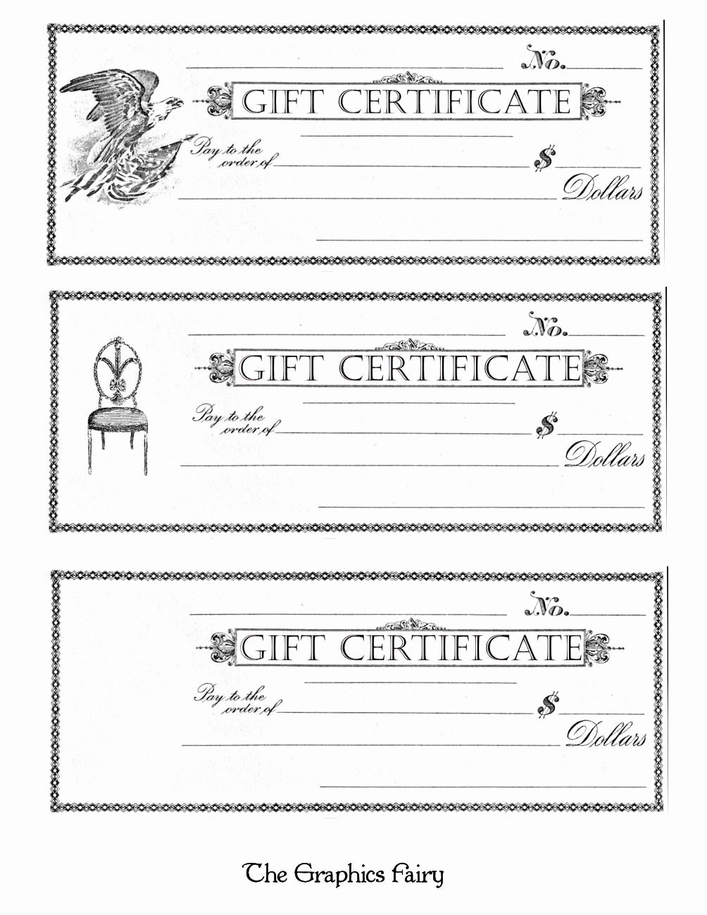 Blank Gift Card Template New Free Printable Gift Certificates the Graphics Fairy