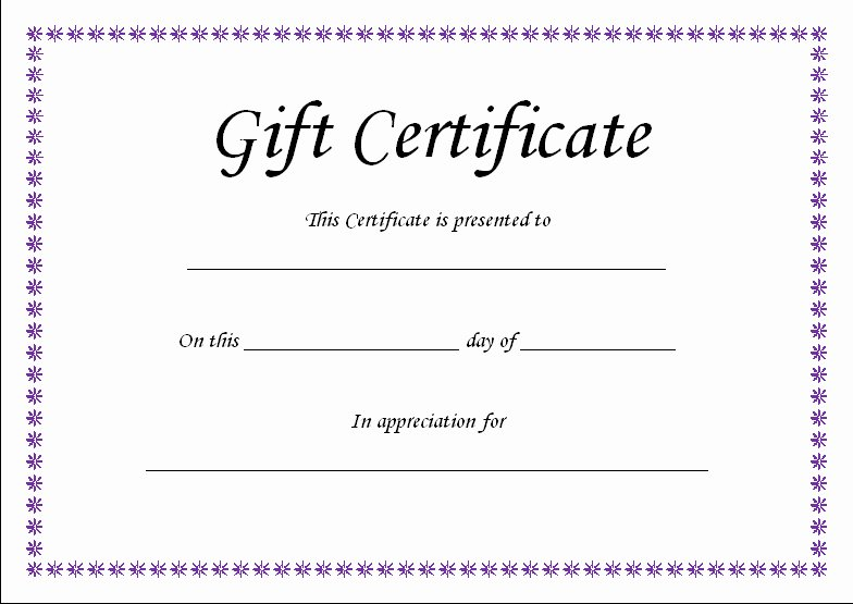 Blank Gift Card Template Unique T Certificate Template Blank