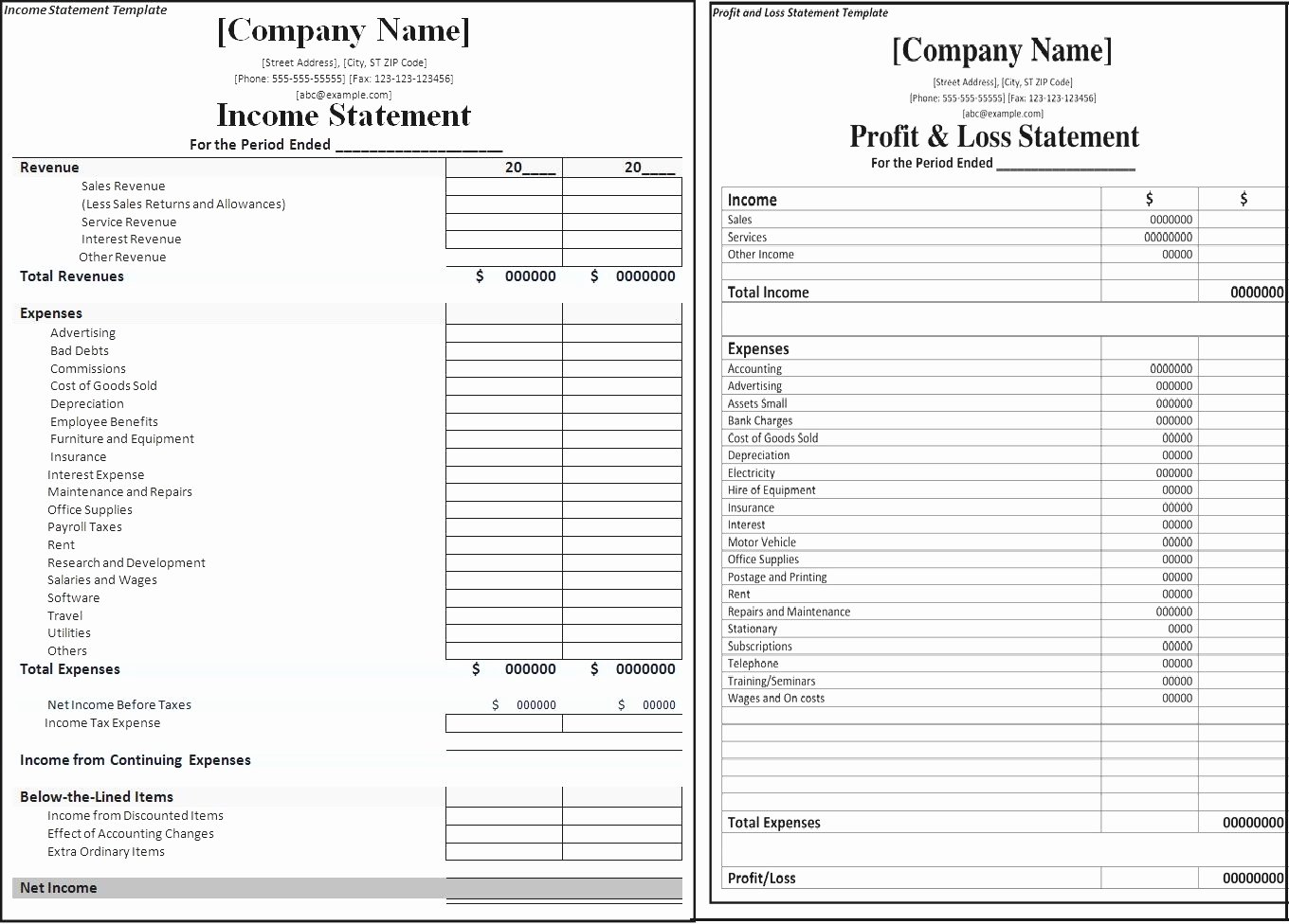 Blank Income Statement Template Best Of Blank Profit and Loss Statement Mughals