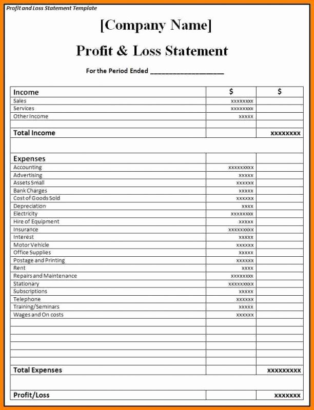 Blank Income Statement Template Elegant Blank Profit and Loss Statement Pdf
