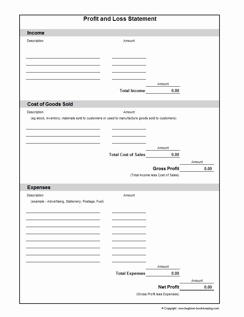 Blank Income Statement Template Luxury Basic Profit and Loss Statement Template Mughals