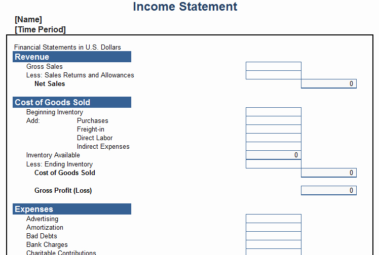 Blank Income Statement Template New In E Statement Templates World Maps and Letter