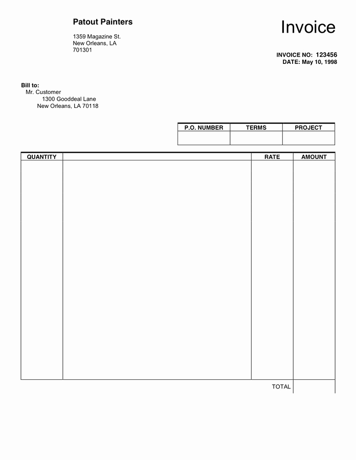 Blank Invoice Template Free Fresh Blank Invoice Template In Word and Pdf formats