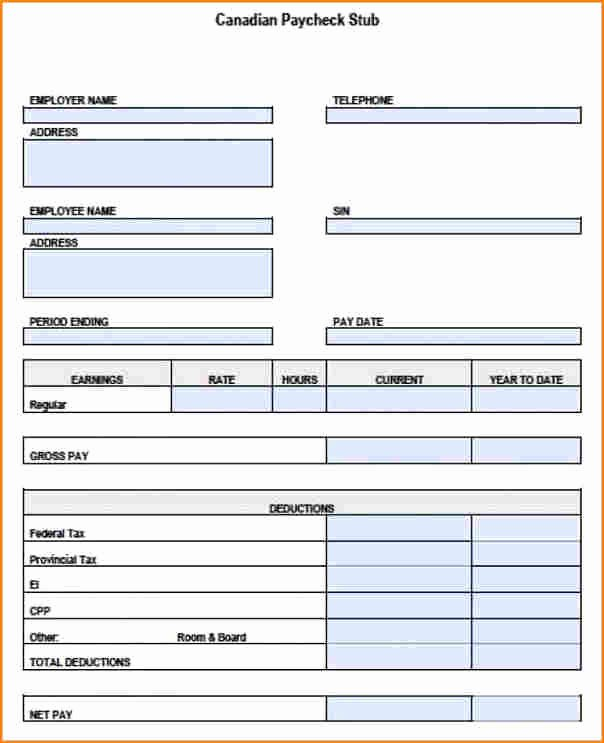Blank Pay Stubs Template Free Lovely 5 Free Blank Pay Stub Template S