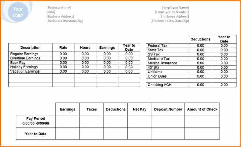 Blank Pay Stubs Template Free Luxury 6 Free Editable Pay Stub Template