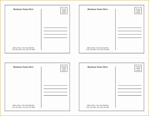 Blank Postcard Template Word New Postcard Template Word