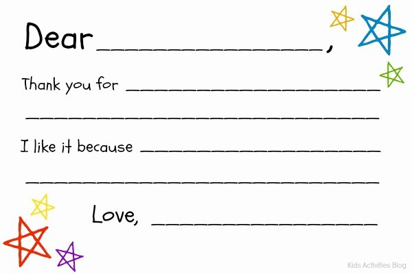Blank Thank You Card Template Best Of Fill In the Blank Thank You Note Free Printable Kids