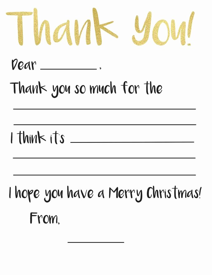 Blank Thank You Card Template Best Of Kid S Thank You Card Printable