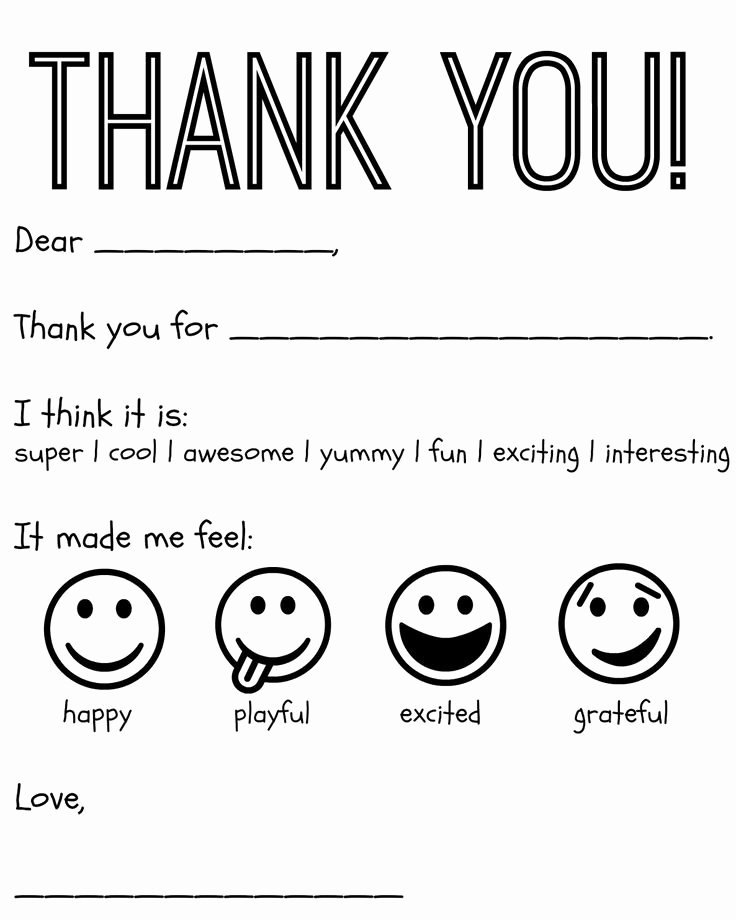 Blank Thank You Card Template Fresh Free Printable Kids Thank You Cards to Color