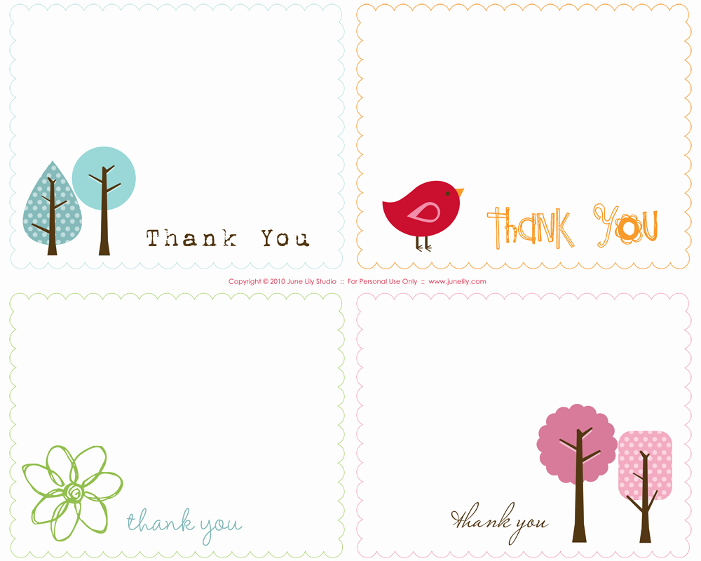 Blank Thank You Card Template Unique Free Printable Thank You Notes June Lily