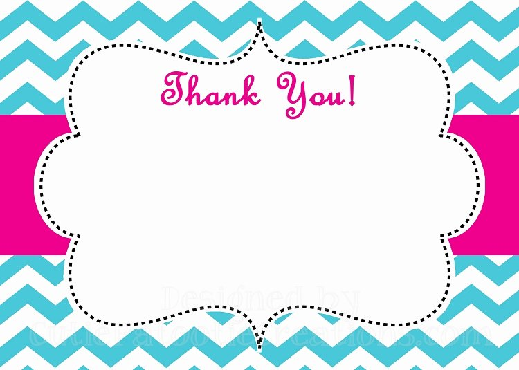Blank Thank You Card Template Unique Turquoise Pink Chevron Print Thank You Card Printable or