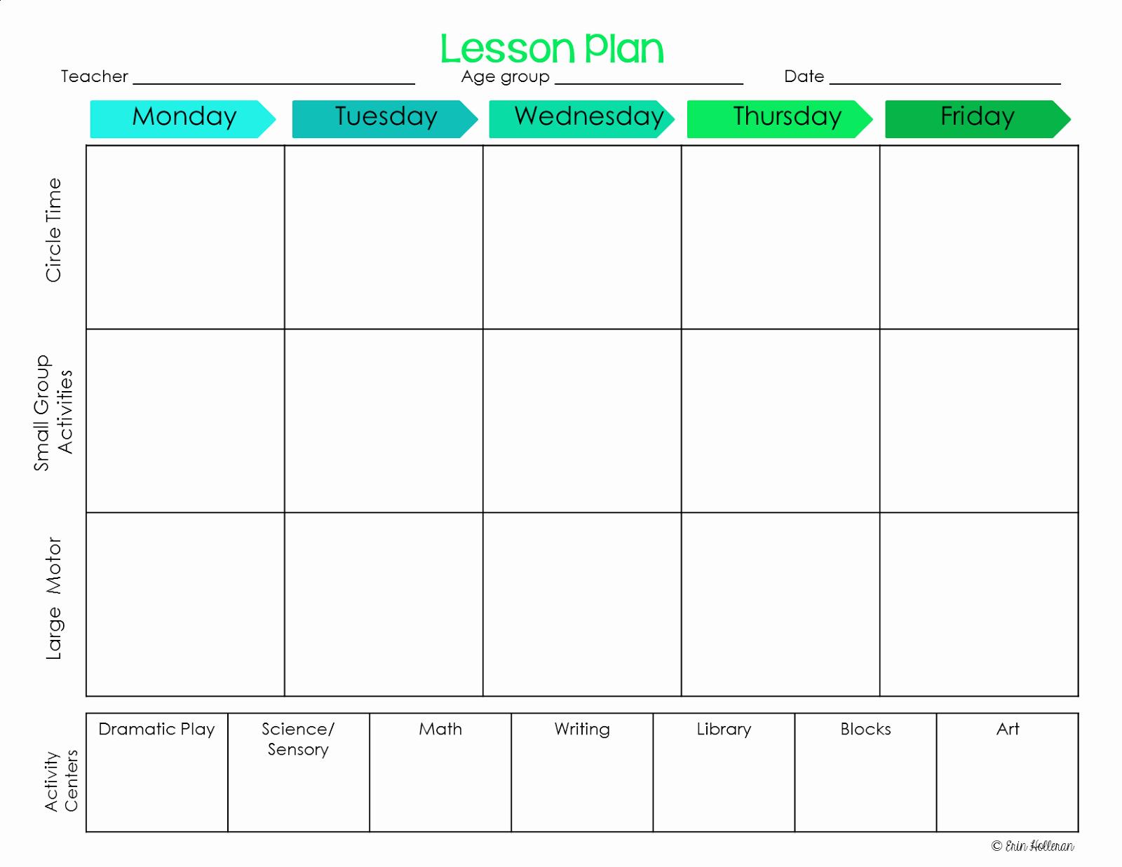 Blank toddler Lesson Plan Template Beautiful Elegant Free Printable Preschool Lesson Plan Template
