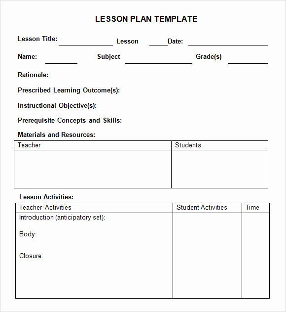 Blank toddler Lesson Plan Template Fresh 8 Weekly Lesson Plan Samples