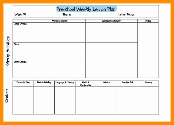 Blank toddler Lesson Plan Template Lovely Editable Weekly Lesson Plan Template Word Preschool Free