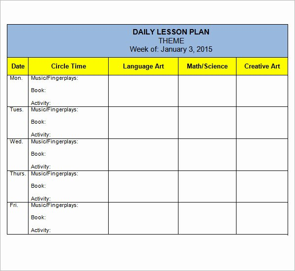 Blank toddler Lesson Plan Template New Preschool Lesson Plan Template 7 Download Free