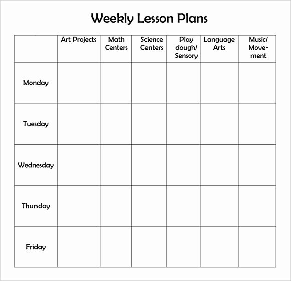 Blank toddler Lesson Plan Template New Printable Weekly Lesson Plan Template Invitation Template