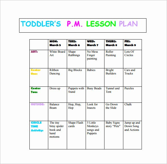 Blank toddler Lesson Plan Template New toddler Lesson Plan Template 9 Free Pdf Word format
