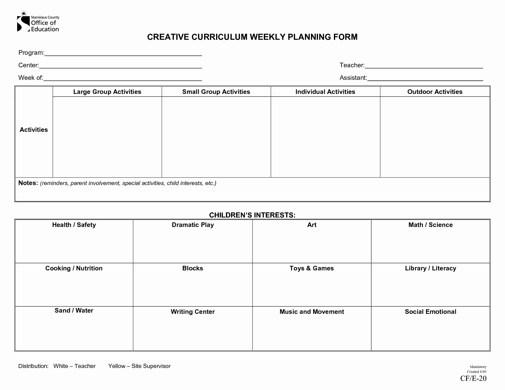 Blank toddler Lesson Plan Template Unique Creative Curriculum Blank Lesson Plan