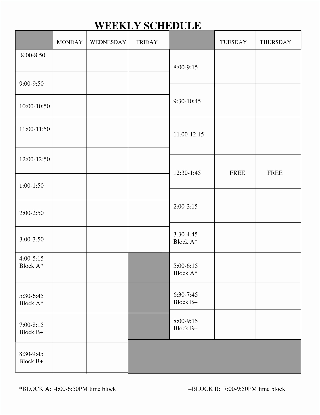 Blank Work Schedule Template Best Of 5 Blank Work Schedule Template