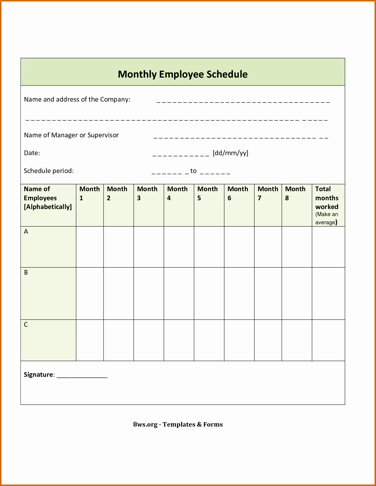 Blank Work Schedule Template Fresh Blank Weekly Employee Schedule Template to Pin On