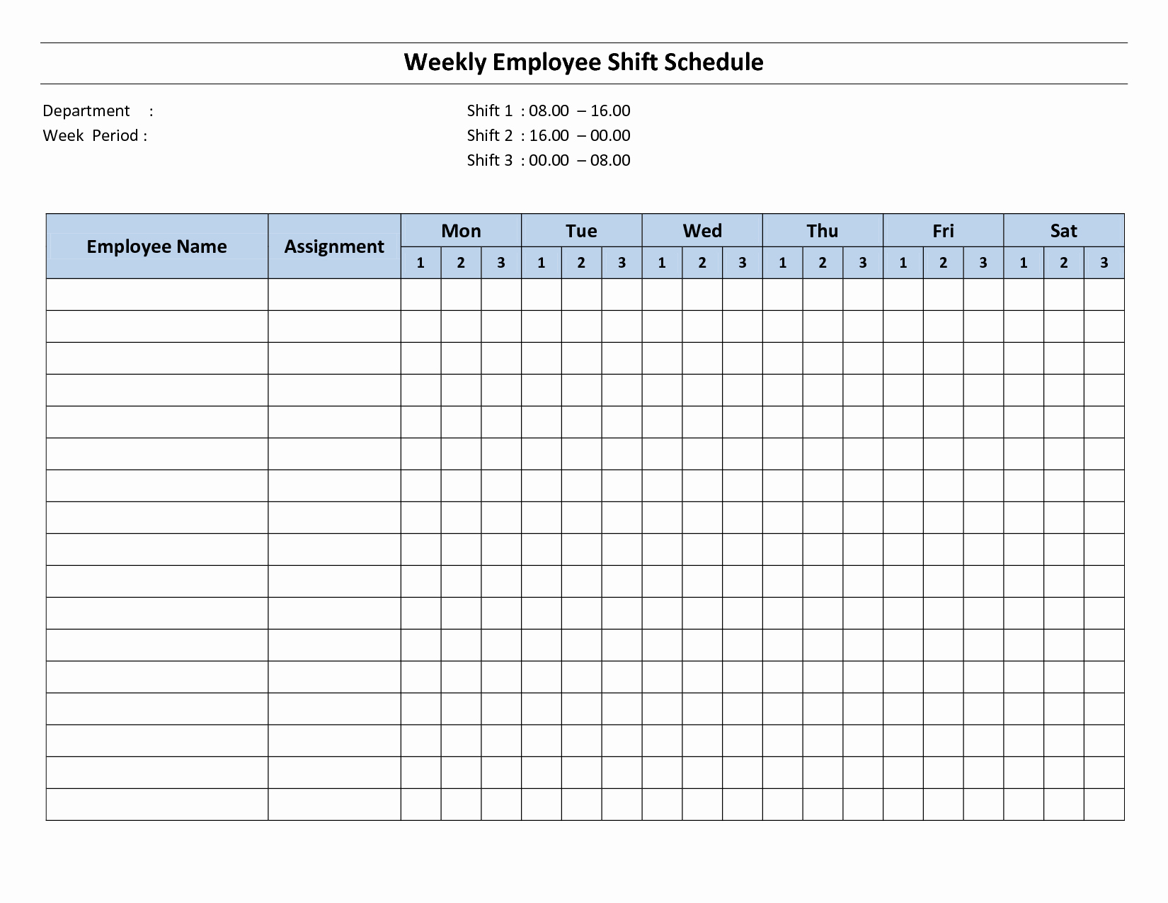 Blank Work Schedule Template Lovely Blank Weekly Employee Schedule Template to Pin On