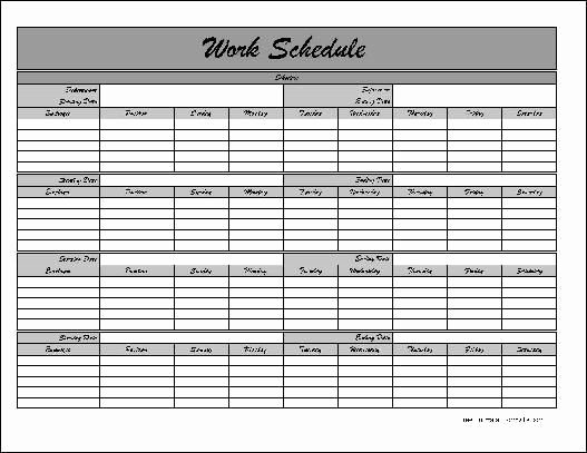 Blank Work Schedule Template Lovely Employee Lunch Schedule Template Templates Resume