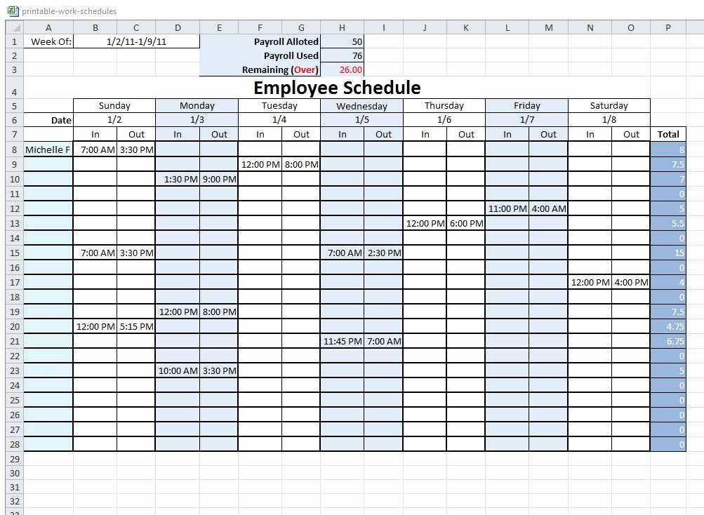 Blank Work Schedule Template New 10 Best Of Free Printable Blank Employee Schedules