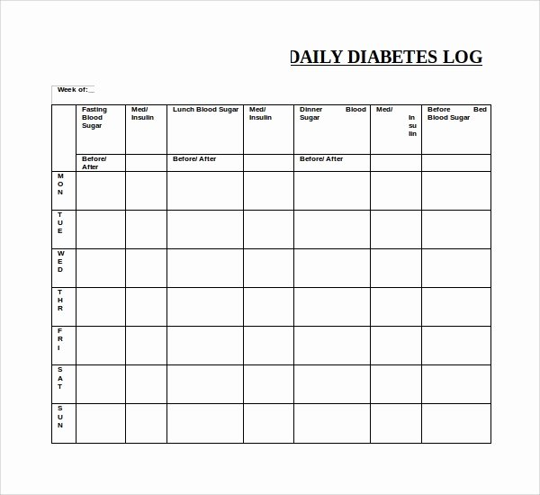 Blood Glucose Log Template Awesome 9 Blood Sugar Log Templates to Download