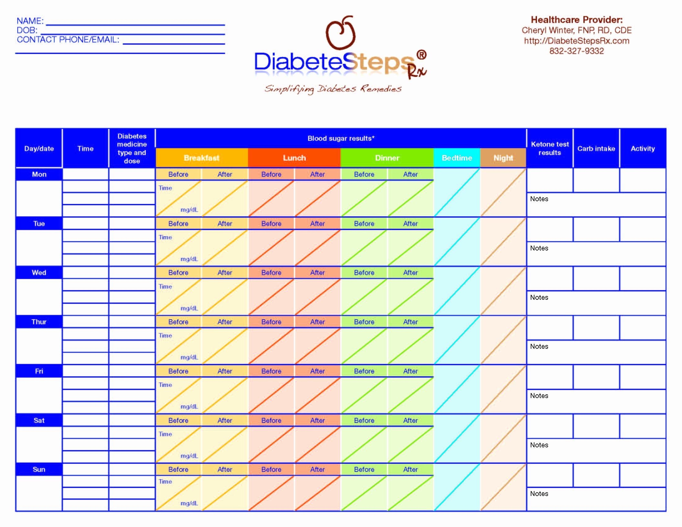 Blood Glucose Log Template Elegant Data Collection forms
