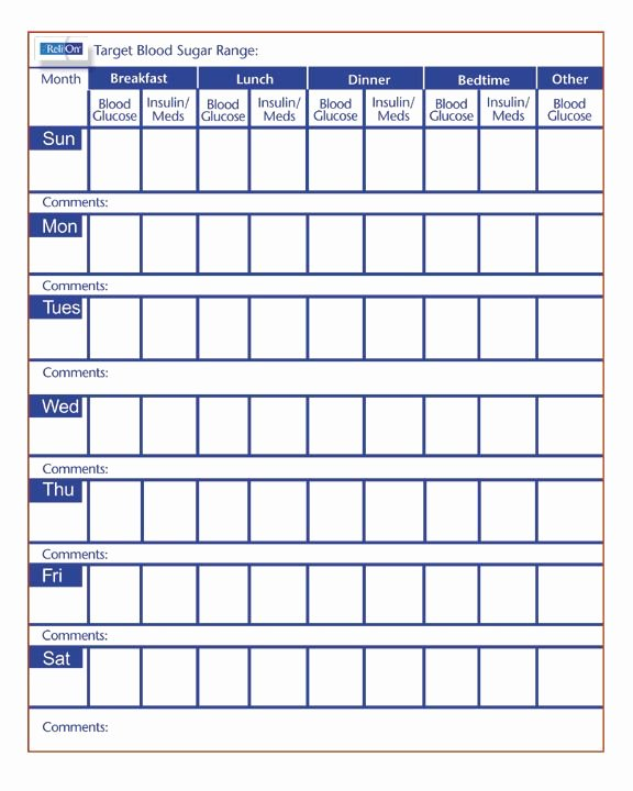 Blood Glucose Log Template Elegant Free Printable Blood Sugar Log