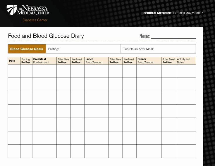 Blood Glucose Log Template Luxury Diabetic Food Diary Template Printable