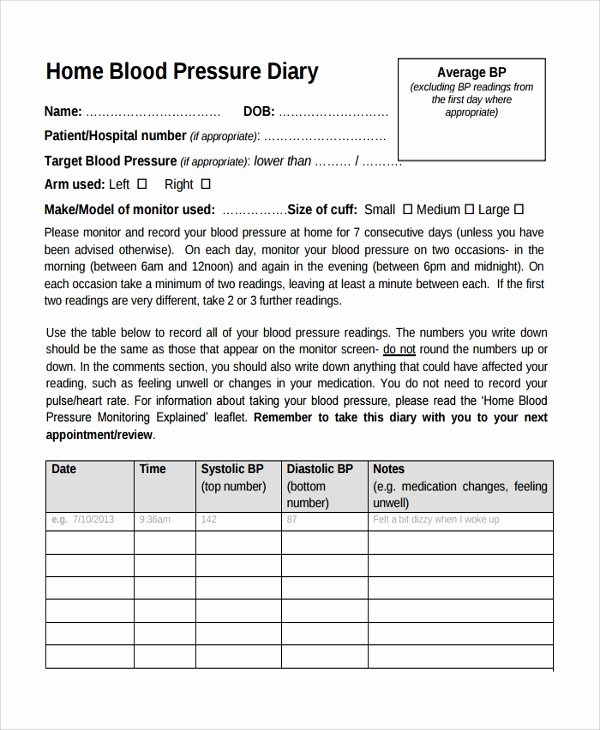 Blood Pressure Charting Template Fresh 10 Blood Pressure Chart Templates