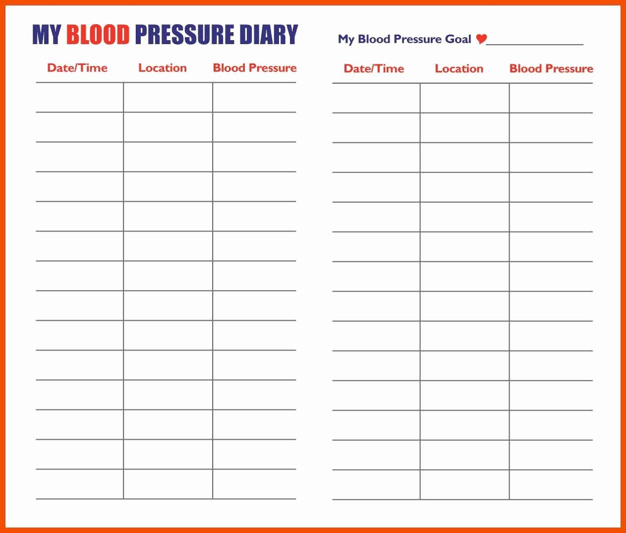 Blood Pressure Charting Template New Printable Blood Pressure Chart