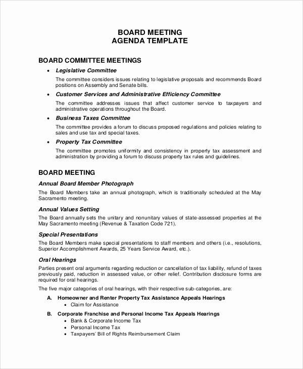 Board Meeting Agenda Template Beautiful 20 Meeting Agenda Samples