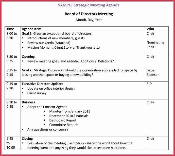 Board Meeting Agenda Template Beautiful Board Meeting Agenda Template 10 Free Samples formats