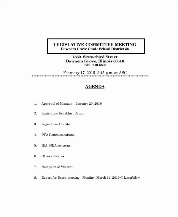 Board Meeting Agenda Template Beautiful Board Meeting Agenda Template – 10 Free Word Pdf