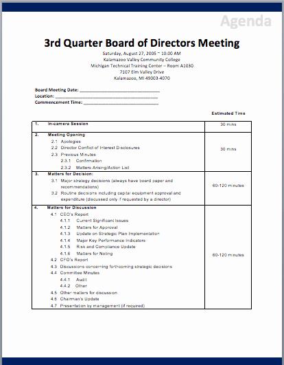 Board Meeting Agenda Template Beautiful Board Of Directors Meeting Agenda Template