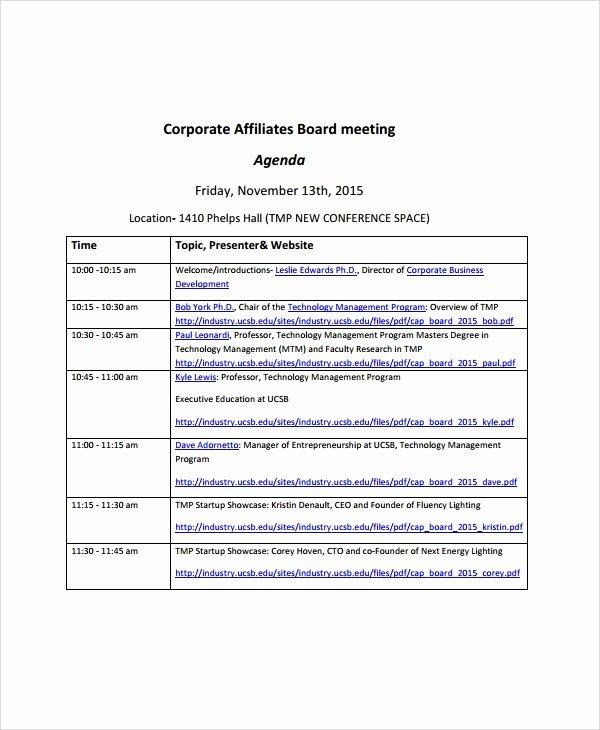 Board Meeting Agenda Template Best Of 8 Sample Board Meeting Agenda Templates