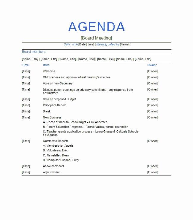 Board Meeting Agenda Template Elegant Excellent Agenda Board Meeting Template Example with
