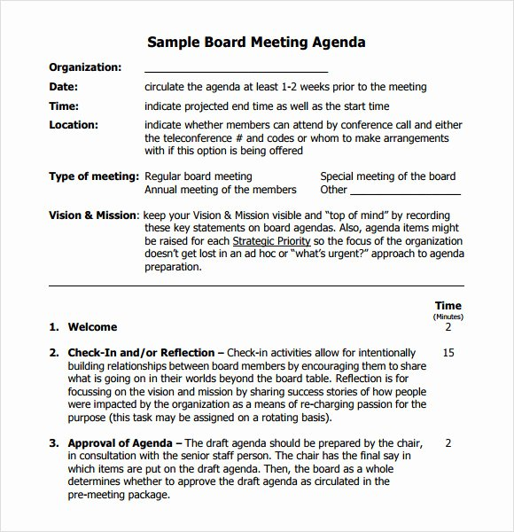 Board Meeting Agenda Template Lovely 12 Board Meeting Agenda Templates – Free Samples Examples