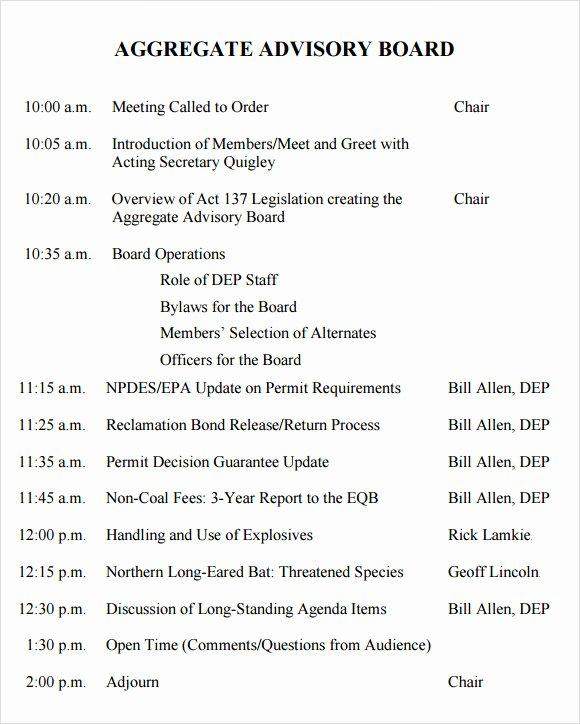 Board Meeting Agenda Template Lovely Sample Board Meeting Agenda Template 11 Free Documents