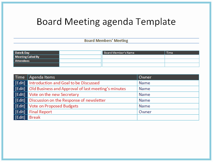 Board Meeting Agenda Template Word Awesome Board Meeting Agenda Template Easy Agendas