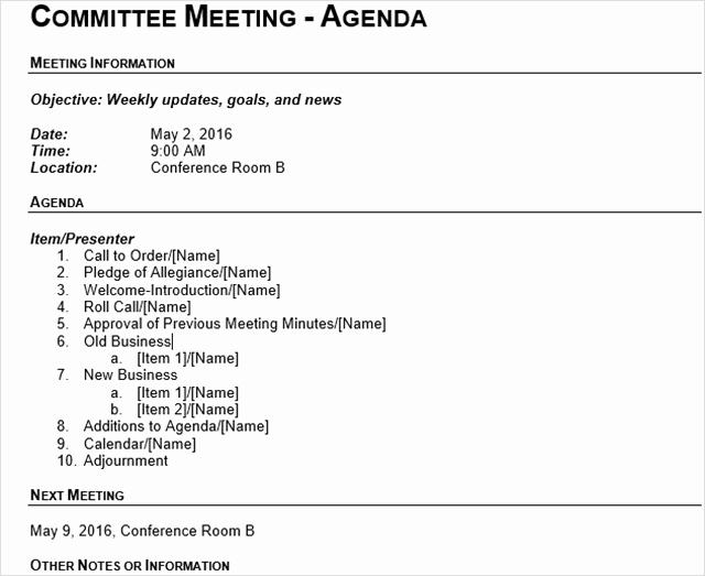 Board Meeting Agenda Template Word Best Of 15 Best Meeting Agenda Templates for Word