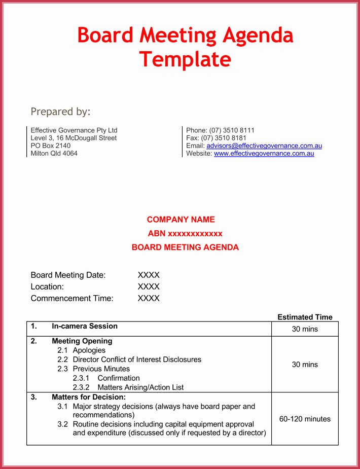 Board Meeting Agenda Template Word Best Of Effective Meeting Agenda Templates 9 Best Samples In