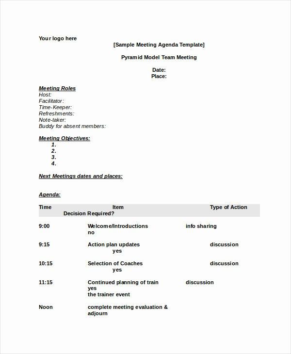 Board Meeting Agenda Template Word Elegant Word Agenda Template 6 Free Word Documents Download