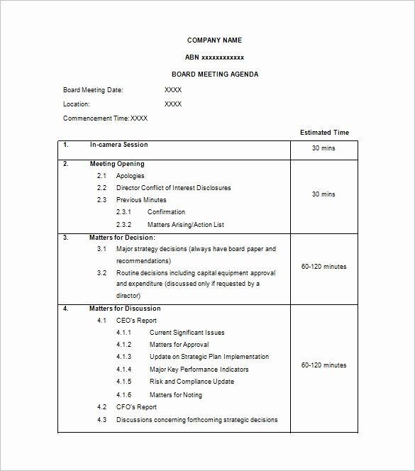 Board Meeting Agenda Template Word Fresh Agenda Template – 24 Free Word Excel Pdf Documents